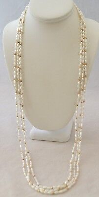 """Vintage Retro Gold Tone Pearl Look Resin Beads Women's 36"""" Set Of 3 Necklaces"""