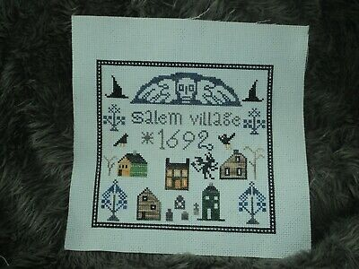 The Primitive Needle Salem Village Completed cross stitch Lisa Roswell Halloween