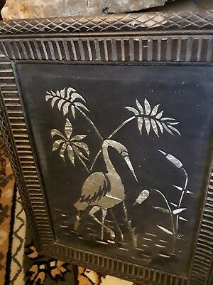 unusual antique oriental foil art  picture in period frame