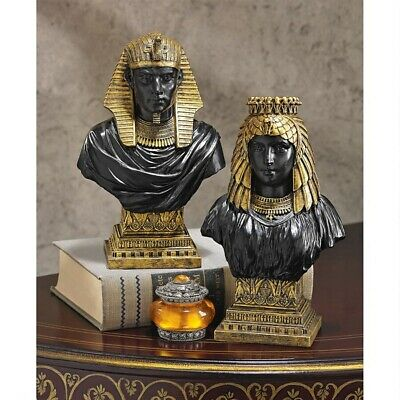 Egyptian King Rameses II And Queen Nefertari Design Toscano Sculptural Busts