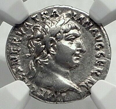 TRAJAN Authentic Ancient 100AD Rome Silver Roman Coin w PAX PEACE NGC i77334