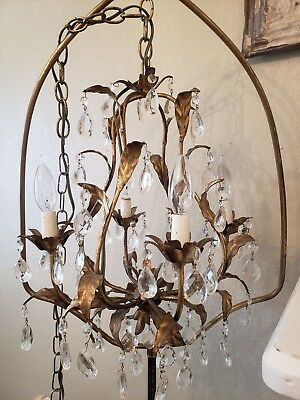 STUNNING~ Vintage 8 ARM 4 Light ITALIAN TOLE GOLD BIRDCAGE Chandelier NEW WIRING