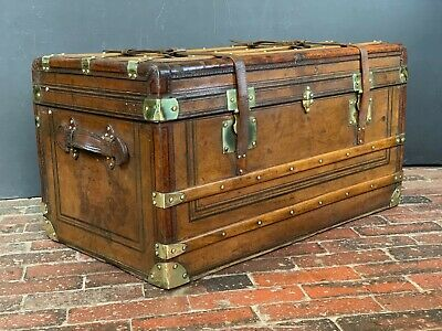 Beautiful Antique French Leather Brass Bound Steamer Trunk
