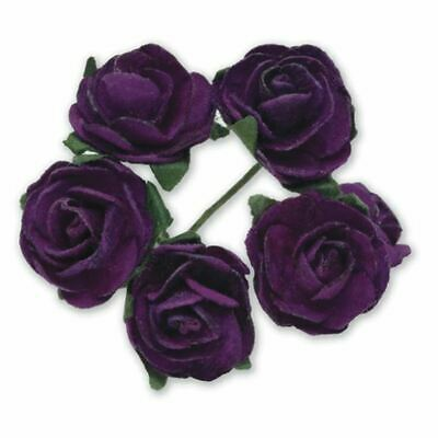 144 PURPLE PAPER TEA ROSES ON STEMS FLOWERS 15mm CRAFT WEDDING BOUQUET
