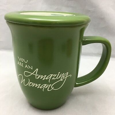Amazing Woman Coffee Mug Green Ceramic Tea Hot Chocolate Cup Coaster Lid 14 Oz