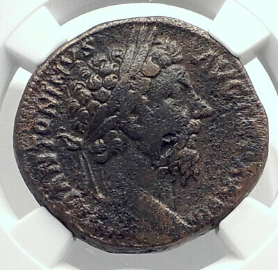MARCUS AURELIUS Authentic Ancient 174AD Rome Sestertius Roman Coin NGC i77340