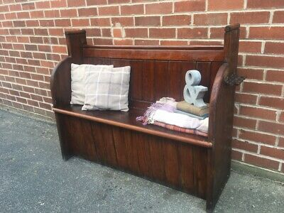 Victorian Church Pew Antique PINE Wood Settle Bench Country Piece Hall Seat