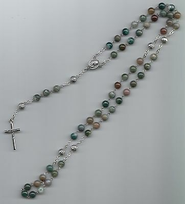 Hand made 6mm blood agate bead rosary with silver plated Our Father beads