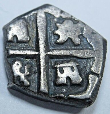 1600s Spanish Silver 1 Reales Piece of 8 Real Colonial Pirate Cob Treasure Coin