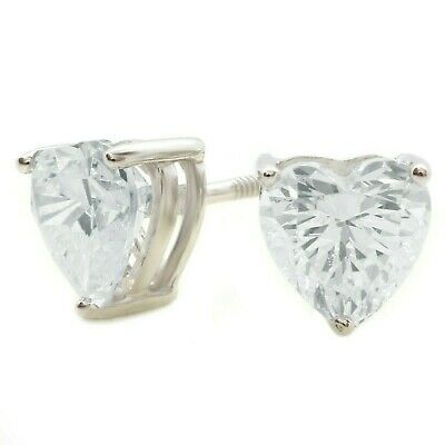 ed2c325d2 2 CT HEART Cut Stud Diamond Earrings in Solid 14k White Gold Screw ...