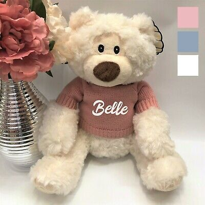 Personalised Oliver Teddy  Bear Custom Text Embroidered on Knitted Jumper Gift