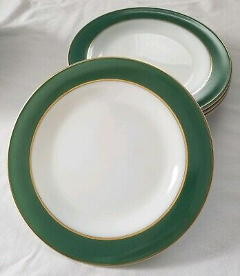 Vintage Pyrex Dinnerware 6 Dinner Plates White Jade Green Gold Band 10 Inches