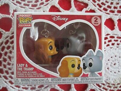 Disney Treasures Funko Pocket Pop Ever After Lady and The Tramp 2 Pack Set Heart