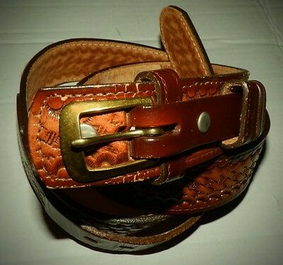 Vintage Brazos Joe Belt Gold Buckle 32 Genuine Tan Leather