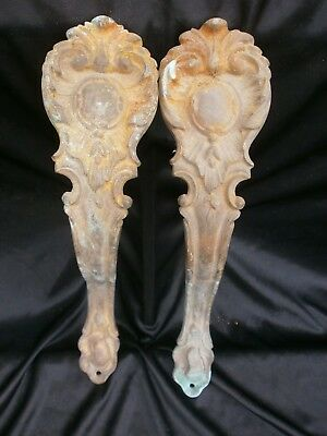 PAIR OF VINTAGE CURTAIN TIE BACKS, CURTAIN HOLDERS, FRENCH, GILTED ORMOLU. ref A