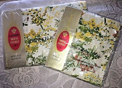 Vtg Cannon Royal Family Percale Full Flat Sheet + 2 Pillow Cases NIP Floral