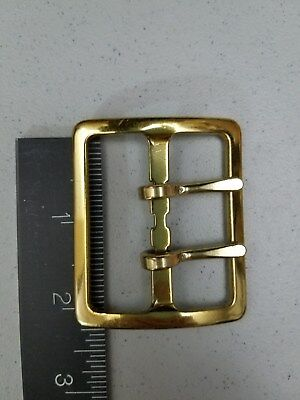 "NOS-ANTIQUE-VTG/2""DOUBLE PRONG BRASS BELT BUCKLE/Sam Browne/Military(WW?)/Police"