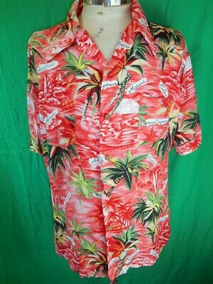 Vintage 60s Bright Pink Coral Red Rayon Carribean Tiki Surf Sail Party Shirt L