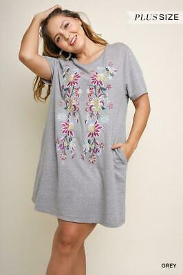 UMGEE Grey Floral Embroidered Short Sleeve Knit Tunic Dress Plus Size XL