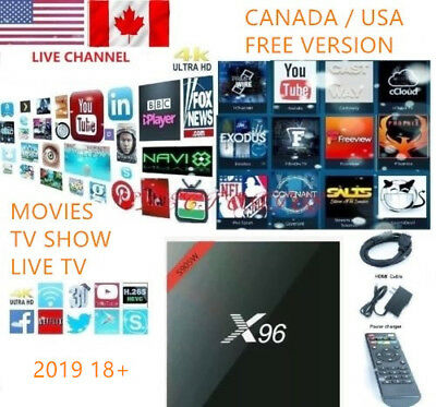 2019 Plug in Use (CA/US) Free IPTV New X96 Android 7.1 K17.6 TV Box Sup 3D 4K HD