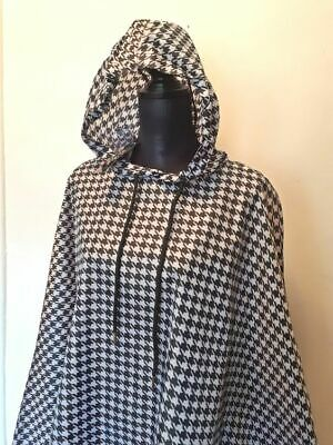 5ebba48fd Rain Poncho by Charlie Paige ONE SIZE Houndstooth Black White Hood & Arm  Straps