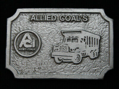 PF21118 *NOS* VINTAGE 1970s **ALLIED COAL'S** MINING COMPANY PEWTER BELT BUCKLE