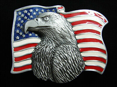 RF05165 *NOS* VINTAGE 1980s **AMERICAN BALD EAGLE & USA FLAG** BELT BUCKLE
