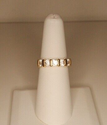14K Gold Plated 4mm CZ Ring Size 6.5, Five Stones