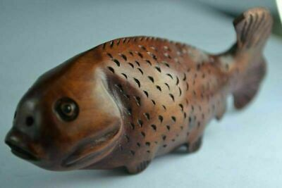 China Rare Collectibles Old Decorated Handwork Boxwood Carving Fish Netsuke