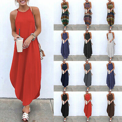Women Boho Sundress Summer Beach Evening Cocktail Party Dresses Long Maxi Dress