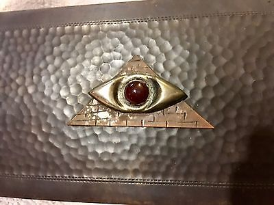 Bronze German Art Nouveaux Box Hammered Carnelian Masonic Eye Silver Mark 8""