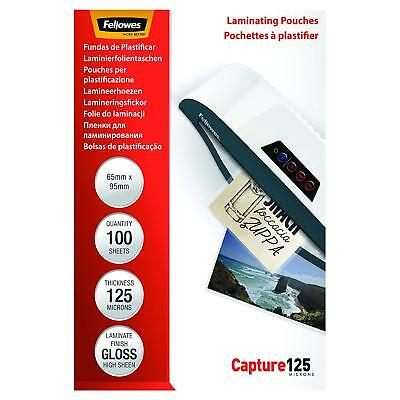 Glossy Laminating Pouches Clear Document Protection 125 Micron 65x95mm 100pcs !