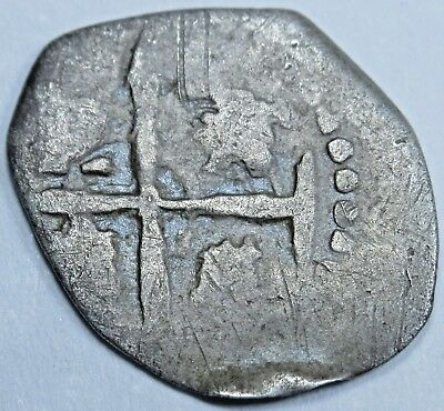 1600's Spanish Silver 1/2 Reales Piece of 8 Real Old Colonial Cob Treasure Coin