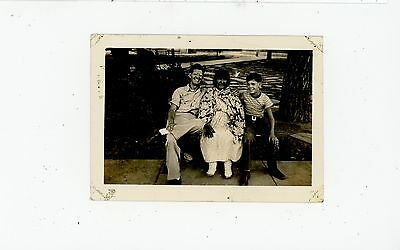 Man & Boy w Old Indian Woman on City Bench NAVAJO Vintage Photo 1930s