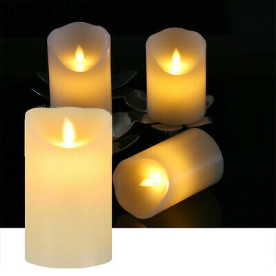 5PC FLICKERING CANDLES FLAME LED FLAMELESS REAL WAX PILLAR BATTERY OPERATED 281