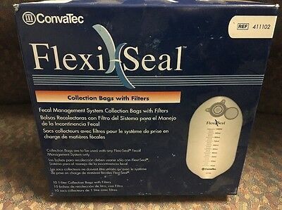 Convatec 411102 FlexiSeal Fecal Management System Collection Bags w/ Filters 10s