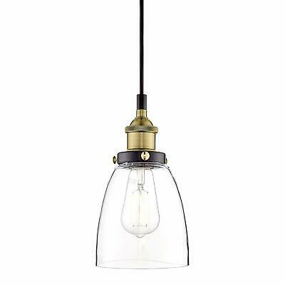 Fiorentino Antique Brass Pendant Light Clear Glass - Linea di Liara LL-P281-ANT