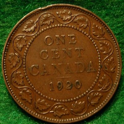 1920 XF CANADA LARGE CENT George V COIN NoRes CANADIAN <-