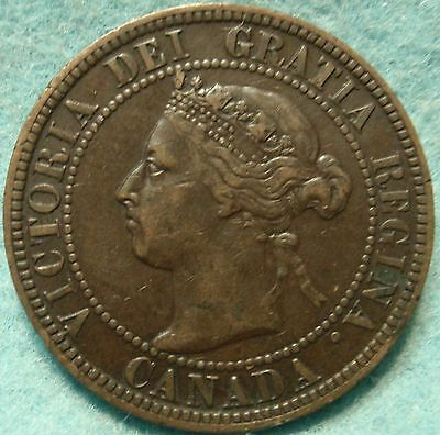 1899 XF High-Grade CANADA LARGE-CENT Victoria COIN No-Res CANADIAN