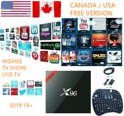 2019 Plug in Use (CA/US) Free IPTV  New X96 Android 7.1 K17.6 TV Box +Keyboard