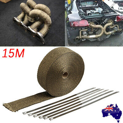 Exhaust Header Heat Pipe Wrap Tape 15M*50mm With 10 Stainless Steel Zip Ties Kit