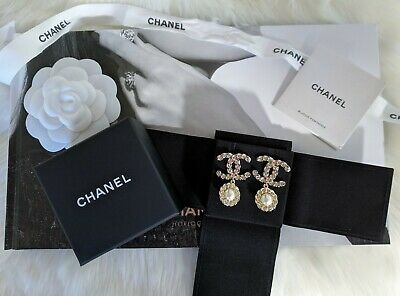 e52a72b0b New 2019 Authentic CHANEL Classic CC Gold Tone Crystal Pearl Drop Earrings