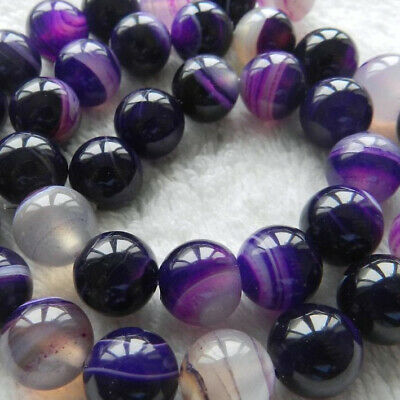 """10mm Striped Purple Agate Round Beads 15"""""""