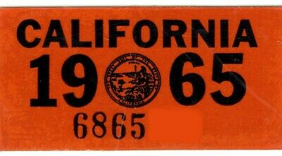 AUTHENTIC 1965 65 California License Plate Year Sticker TAG TAB DECAL DMV  YOM