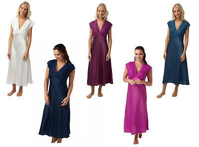Ladies Long Satin Nightdress Navy or Fuchsia/Pink Size 10-28