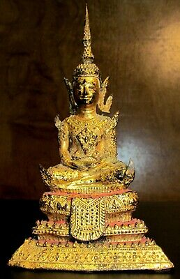 FINE 19th CENTURY ANTIQUE RATTANAKOSIN THAI TEMPLE GILT BUDDHA