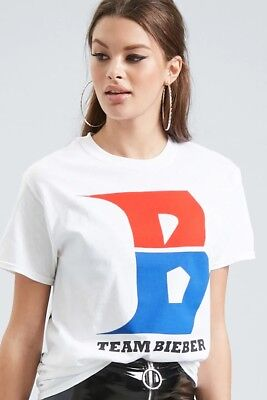 dc1982bba Justin Bieber Forever 21 Sz Small White Concert T-Shirt Short Sleeve Graphic  Tee