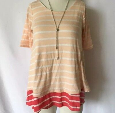 1b1058e980095 PUELLA Anthropologie Striped White Pink Short Sleeve Blouse Shirt Extra  Small XS
