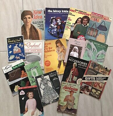 Lot of Vintage Sewing Crochet Lace Knitting Craft Pattern Books Leaflets and Mag