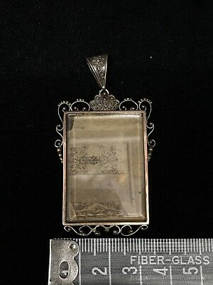 Large Antique Victorian Ornate Silver Double Locket Rose Yellow Gold Overlay
